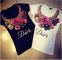 Wholesale 2017 Women Short Sleeve T Shirt Big Girl Rose Flower Printing T Shirt Tops Lady Flower Pendant Necklace Tops Women Clothes Black White