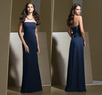 Cheap 2015 Hot promotion A line Bridesmaid Dresses Navy Simple Strapless Ruched Chiffon Backless Floor length Sleeveless Custom Formal Gowns