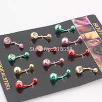 belly button ring double - Double Ball Body Jewelry Surgical Steel Crystal Rhinestone Belly Button Navel Bar Ring Piercing JJAL O113