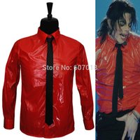 bad patents - MJ In Memory of Michael Jackson Red Patent Leather Dangerous BAD Jam Shirt For Party Gift Halloween