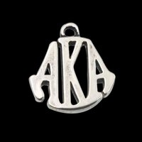 aka charms - Antique Silver Plated Alloy Greek Letter Charms Vintage AKA Letter Bangle Charms mm AAC1090