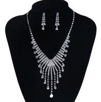 Wholesale 2015 Fashion Bright Rhinestone Tiaras With Tassel Silver Wedding Necklace Earrings Bridal Jewelry Set Princess Women Favors Wedding Gift