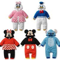 Wholesale Baby Fashion Clothes Baby Warm Coverall Baby Rompers Children Pajamas Cartoon Character Customes Cotton dhl ems
