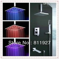 Wholesale inch led temperature brass three way bathroom concealed rainfall shower faucet set with down water spout Fast delivery lamp
