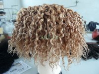 Wholesale brazilian human virgin remy blonde hair weaves inch curly hair extensionsn bundles for full head the cheapest price