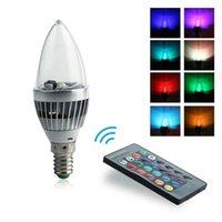 Wholesale 85 V E14 LED Bulb W LED Lamp RGB Spot Light Candle Lamp Colorful Bulbs with Buttons Remote Control LED_240