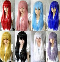 Wholesale Hotsale Cosplay Wig girls Oblique Bangs Long Straight Wigs cm colors stock for choose factory direct sale