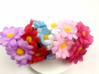 Wholesale Sunflower Bun Garland Floral Head Knot Hair Top Scrunchie Band Elastic Bridal Headband