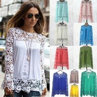 laces - lace blouses shirts autumn shoulder long sleeved chiffon shirt blouses hollow Crochet flower Women s Clothing DHL freeshipping