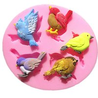 Wholesale Hole Bird Shape Cake Mold Cute Bird Chocolate Moulds Silicone Fondant Molds DIY PC D Birds Silicone Mold