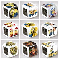 Wholesale DHL Shipping Despicable Me LED Colors Change Lighting Digital Alarm Clock Minions Thermometer Christmas Glowing LED Table Clocks