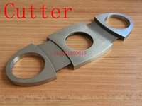 Wholesale Fedex DHL High Quality Pocket Stainless Steel Cigar Cutter Knife Double Blades