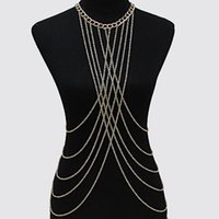 gold cross necklaces - Silver Gold Body Chains Women s Necklaces Multi Curb Chain Metal Tassel Criss Cross Straps Belly Chain Harness Jewelry Strands Strings