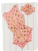 carter's bodysuit - 1PCS New Baby Bodysuit Girl Foil Gold Polka Dot Elastic Waist Fashion Cotton Summer Jumpsuits T Have Headband