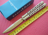 Wholesale Benchmade Balisong Butterfly Knife Stainless Steel Satin Sandwich construction Skeletonized Handles Tactical knives New in original box