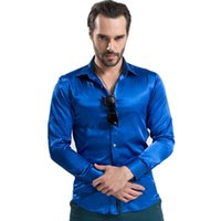 Cheap Wholesale-2015 New Fashion Long Sleeve Silk Dress Shirts For Men 12 Colors High Quality Mens Button Shirt Size S-XXL Chemise Homme Q1570