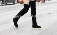 almond canvas - 2015 new style Autumn Winter Fashion winter female shoes over the knee women s boots flat shoes sexy warm long high boots