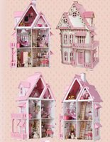 Wholesale Pink DIY Wooden Miniatura Doll House Furniture Handmade D Miniature Dollhouse Toys Gits English instructions