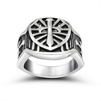 Wholesale Men s Vintage L Stainless Steel Bands Sword and Shield Signet Rings Medieval Crusaders Knights Templar Cross Christian Army Black Silver