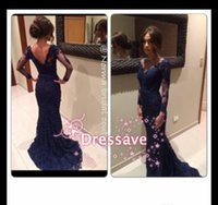 Wholesale 2015 Hot Sale Long Sleeve Evening Gowns Mermaid V Neck Navy Blue Lace Backless Sweep Train Formal Prom Dresses BO6489