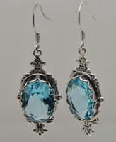aquamarine chandelier earrings - Fashion women earrings jewelry hot sexy sterling silver aquamarine swing hook silver earrings with