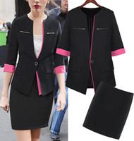 Cheap 2015 Fashion Black Rose women work wear suits Blazer Mini Skirt ladies office uniform style business suits plus size clothes