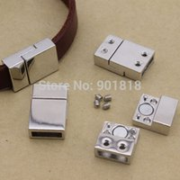 Wholesale inner size mm fitting flat leather rhodium Plated Magnetic Clasps Jewelry Findings F840