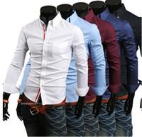 Wholesale hot men shirt casual dress Men s casual shirt men shirt slim fit concise fashion new black burgundy shirt C9007S