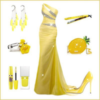 Wholesale Sexy One Shoulder Mermaid Evening Dresses Crystal Beaded Yellow Floor Length Long Chiffon Backless Pageant Gowns for Women Formal
