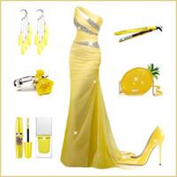 al por mayor un hombro de la gasa de la sirena-Sexy una hombro sirena vestidos de noche 2015 de cristal rebordeado piso amarillo longitud gasa Backless vestidos de disfraces para las mujeres formal