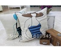 applique cushion cover - Fashion Embroidery Linen cotton pillow cover appliques cushion cover cmx45cm