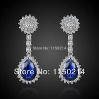 Cheap Fashion Jewelry Woman's Rare Blue Sapphire Cz 18K Gold Filled Wedding Earrings Gift Free Shipping