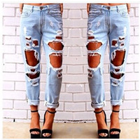 Wholesale New Fashion jeans woman Light Blue hole Solid Novelty Skinny Nine points length ripped