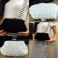 bags imitation - In Stock No Risking Wedding Accessories White pearls Floral Party Prom Hand bags Bridal Hand Bags
