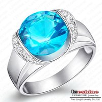 b jewellery - Fashion Elegance Design Ring Real Platinum Plated Blue Simulated Diamond Wedding Band Rings Jewellery CRI0064 B