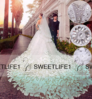 Model Pictures church dresses - Real Image Crystal Wedding Dresses Sweetheart Neck Backless A Line Luxury Wedding Gowns Handmade Flowers Cathedral Train Church Bridal Gowns