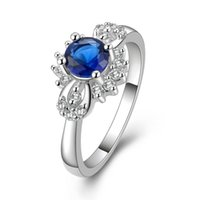 Cheap F09514 JMT 1Piece Blue CZ Dimaond Silver Plated Classic Style Ring Best Gift For Women +FreePost