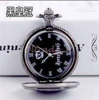 Wholesale 4lot CCA3359 Hot Styles Black Butler Watches Quartz Pocket Watch Kuroshitsuji Hematite Steampunk Jewelry Anime Vine Pendant Necklace