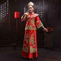 Wholesale Xiu upscale vintage clothing new bridal gown wedding dress for pregnant women toast clothing Chinese wedding kimono show