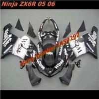 Cheap ZX6R 636 black white Fairing Fit for Kawasaki Ninja ZX6R 636 05-06 ABS black white ZX-6R 2005-2006 6R 05 06 ZX 6R 2005 2006 fairing parts