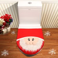 Cheap New Arrival XMAS Santa Toilet Seat Cover Lid Cushion Pad Christmas Bathroom Decoration 3D Effection Toilet Seat Mat Set