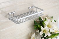 Wholesale Rectangle style high quality never rust aluminum bathroom shelves nail inserting single tier kitchen holder