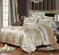 silk bedding - Luxury Jacquard Embroidered Pieces Queen King Size Wedding Gift Silk Bedding Supplies Bedding Set satin Cotton Duvet Cover bedsheets Set