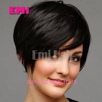 african american hair - Lace front human hair wigs New Arrival Cheap Pixie Cut short glueless with bangs for african americans Best brazilian hair wigs