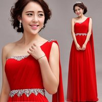 Wholesale chiffon mother of the bride dresses red belt one shoulder crytal dress
