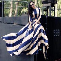 big ladies dresses - 2016 Fall fashion Cheap dress big striped long sleeve floor length maxi long dresses chiffon ladies casual dresses OXL082207
