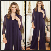 Wholesale Romantic Purple Plus Size Mother Of The Bride Pants Suits With Jacket Womens Chiffon Long Sleeve Mother Formal Dress For Wedding