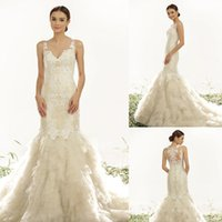 best tires - Best selling lace Wedding gowns Spathetti Sleeveless Appliques tired Button Sweep strain Bridal gowns custom made