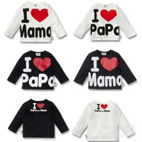 Wholesale Baby long sleeve boys girls t shirt Hot summer new cotton letter printed newborn unisex tops tees I Love mama amp