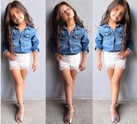 rattan furniture - Dinning Table Wicker Rattan Furniture China Baby Clothes Kids Summer Girls Clothing Children Denim Jacket Lace Boy Shorts Two Sets